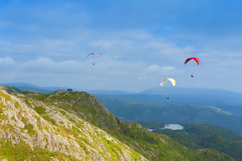 Beautiful landscape with paragliders seen from the Mount Ulriken in Bergen, Norway stock image