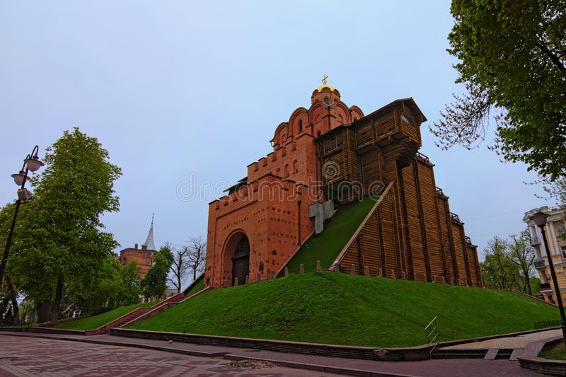 Beautiful landscape photo of famous Golden Gate. Spring morning in Kyiv, Ukraine stock photos