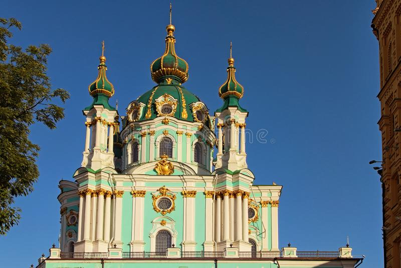 Beautiful landscape photo of Saint Andrew cathedral over vibrant blue sky. Famous touristic place and travel destination in Europe. Kyiv, Ukraine royalty free stock images