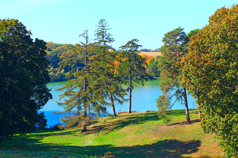 Beautiful landscape with picturesque lake and trees royalty free stock photos