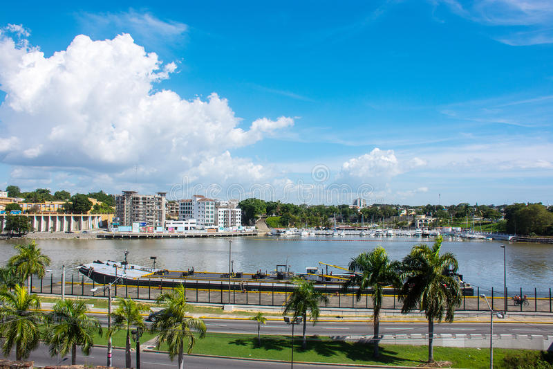 Beautiful landscape of the pond and palm trees in Santo Domingo, Dominican Republic. Beautiful landscape of the pond and palm trees in Santo Domingo royalty free stock image