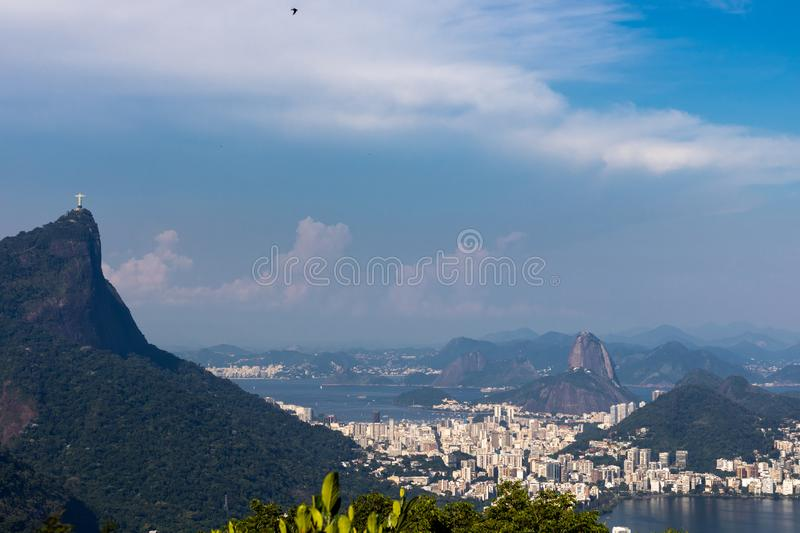 Beautiful landscape with rainforest, city district Leblon, Ipanema, Botafogo, Lagoon Rodrigo de Freitas and mountains. Corcovado, sugarloaf, two brothers seen stock photo