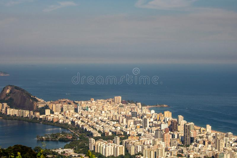 Beautiful landscape with rainforest, city district Leblon, Ipanema, Botafogo, Lagoon Rodrigo de Freitas and mountains. Corcovado, sugarloaf, two brothers seen stock images
