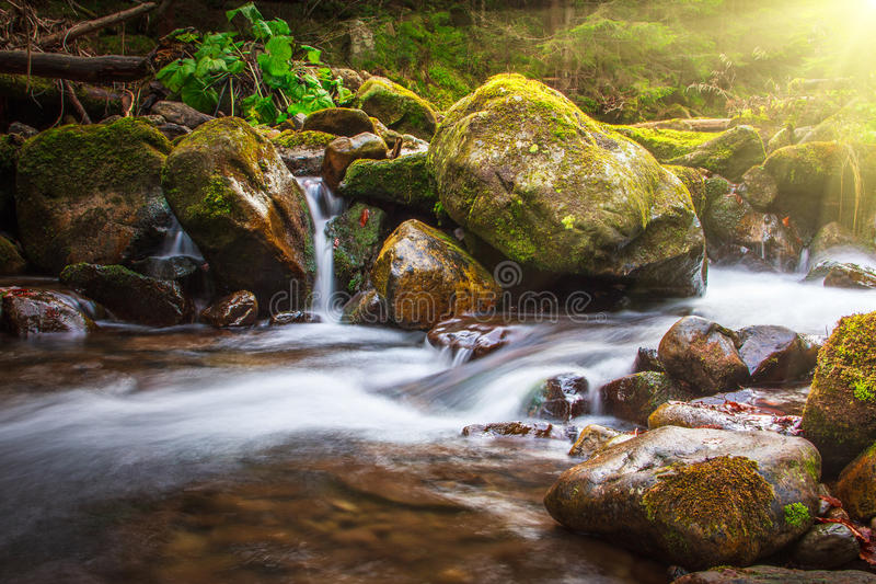 Beautiful landscape rapids on a mountains river in sunlight. Filtered image: colorful effect royalty free stock photos
