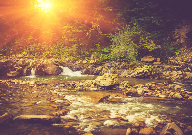 Beautiful landscape of rapids on a mountains river in sunrise. Filtered image: vintage effect stock images