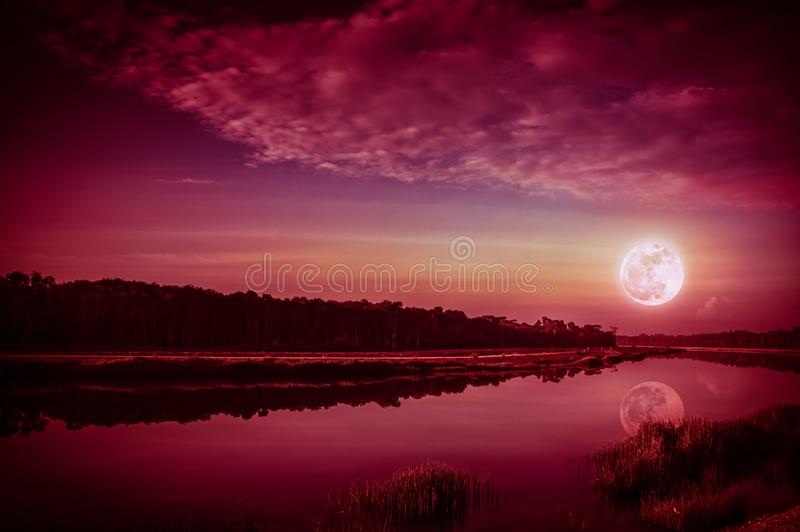 Beautiful landscape of red sky with cloud and full moon above silhouettes of trees at riverside. Serenity nature background, royalty free stock images