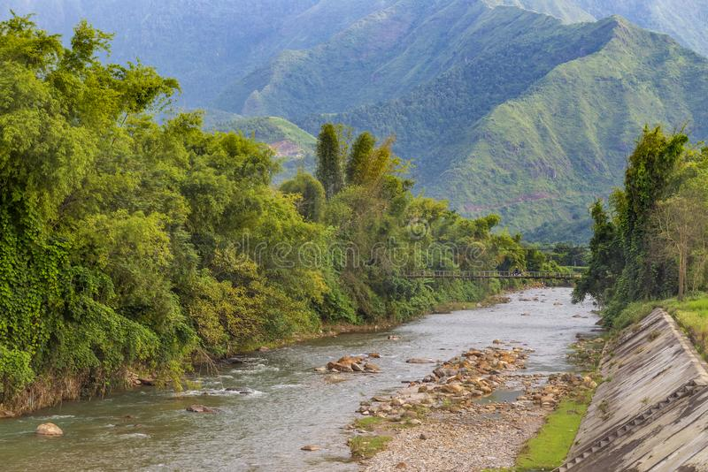 Beautiful landscape of river and mountain during trip Sapa Vietnam royalty free stock photo