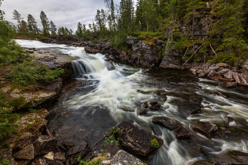Beautiful landscape of the river and waterfall with long exposure. Norway stock photos