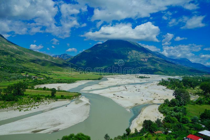 Albania landscape; Mountains, River and Forest royalty free stock image