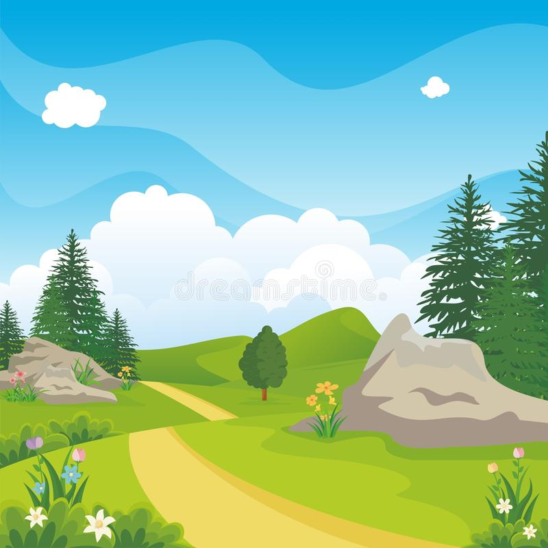 Beautiful landscape with rocky hill, Lovely and cute scenery cartoon design. Suitable for wallpaper, background, kid book, game background and other stock illustration