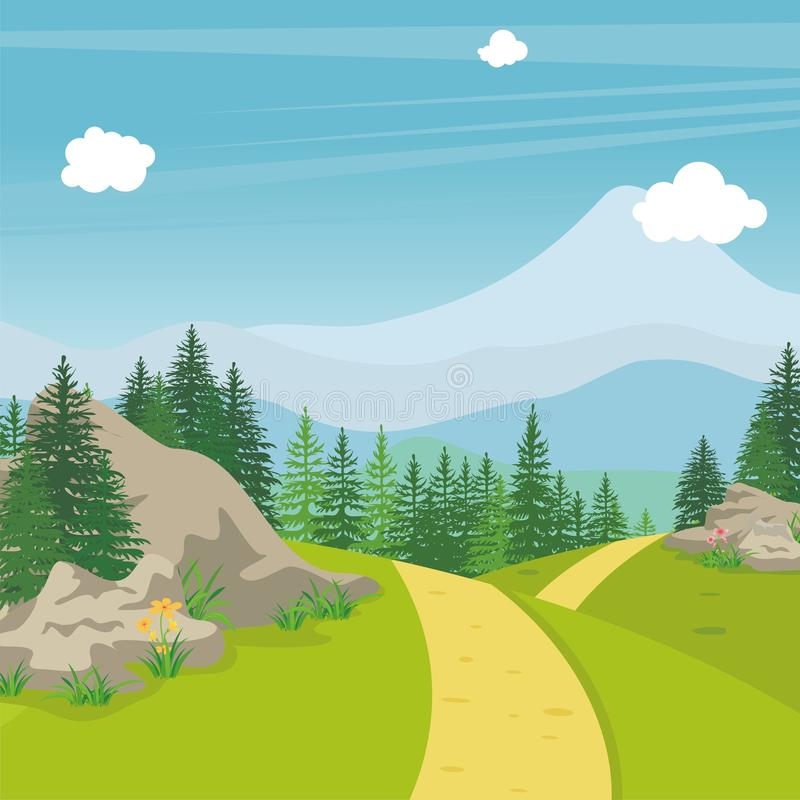 Beautiful landscape with rocky hill, Lovely and cute scenery cartoon design. Suitable for wallpaper, background, kid book, game background and other royalty free illustration
