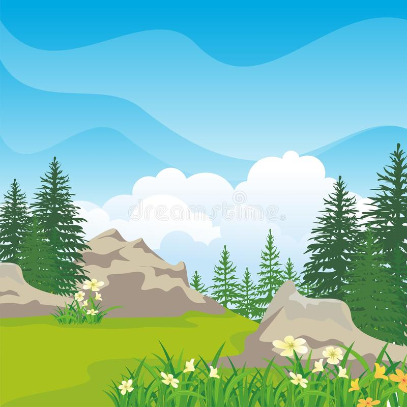 Beautiful landscape with rocky hill, Lovely and cute scenery cartoon design. Suitable for wallpaper, background, kid book, game background and other vector illustration