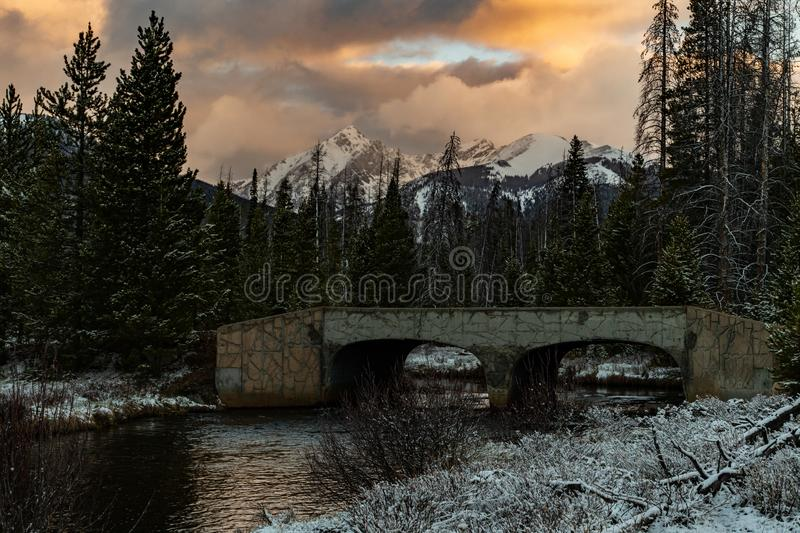 A Beautiful Sunrise at Rocky Mountain National Park stock photography