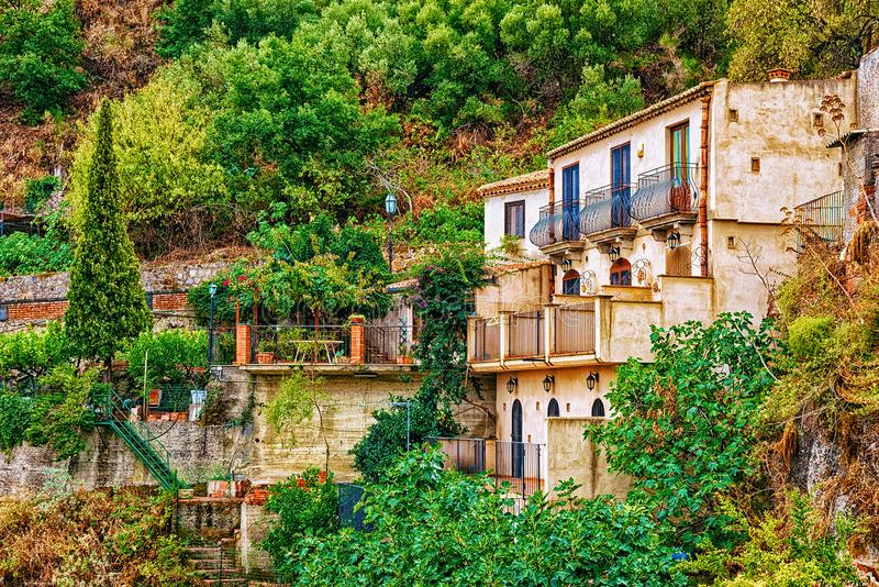 Beautiful landscape with Savoca village in the mountains, Sicily island, Italy royalty free stock photo