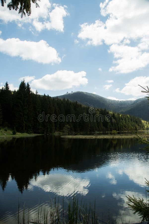 Beautiful landscape scene at the small Arbersee in Bavaria stock photography