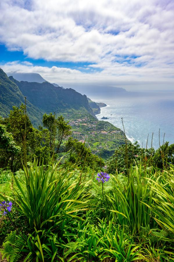 Beautiful landscape scenery of Madeira Island - View of small village Arco de Sao Jorge near Boaventura on the north side of stock images