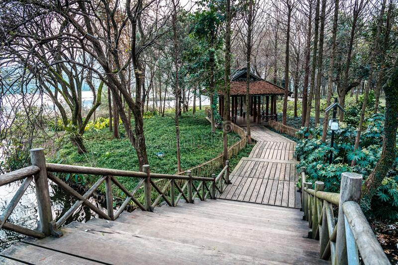 The beautiful landscape scenery of Xihu West Lake and pavilion in Winter at Hangzhou CHINA stock photos