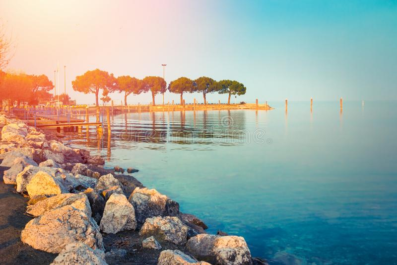 Beautiful landscape of scenic Garda lake. In Sirmione, Lombardy, Italy stock photo