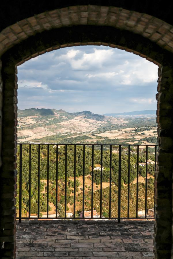 Landscape seen from the castle in the historic center of Calitri, Avellino, Italy. A beautiful landscape seen from a balcony from the castle in the historic royalty free stock photo