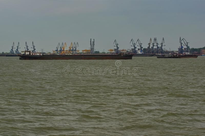 Ships on the Danube river 5. Beautiful landscape with ships on the Danube river in Romania royalty free stock photography
