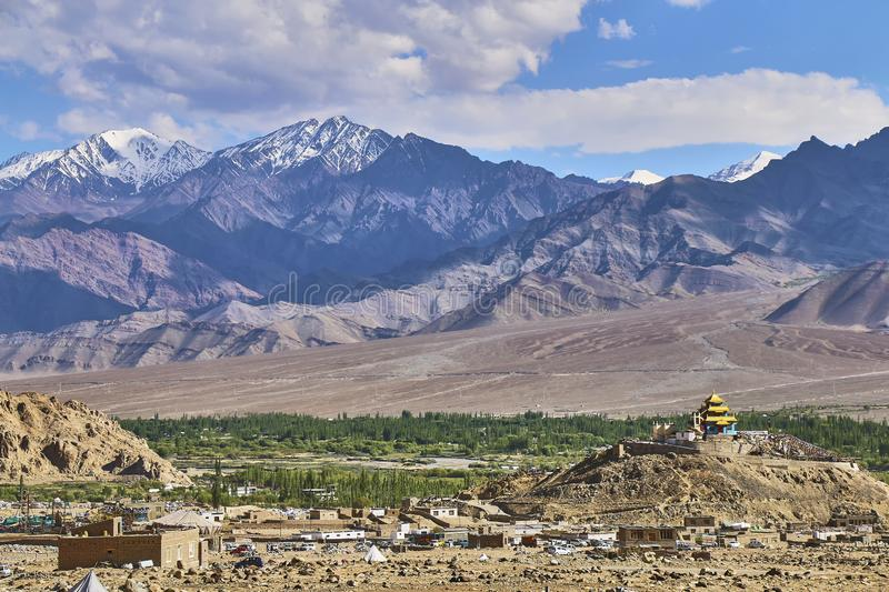Beautiful landscape with snow capped Himalaya mountains near Leh in Ladakh, India royalty free stock photo