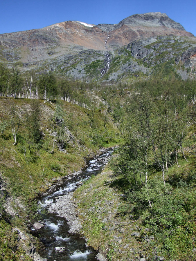 Beautiful landscape and a stream in Norway royalty free stock photos