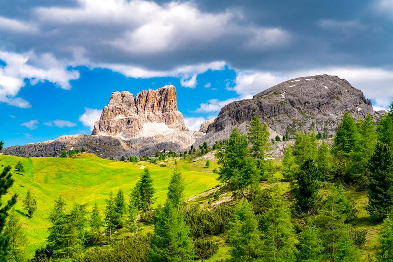 Beautiful landscape in summer of Mount Averau of the Italian Dolomites royalty free stock images