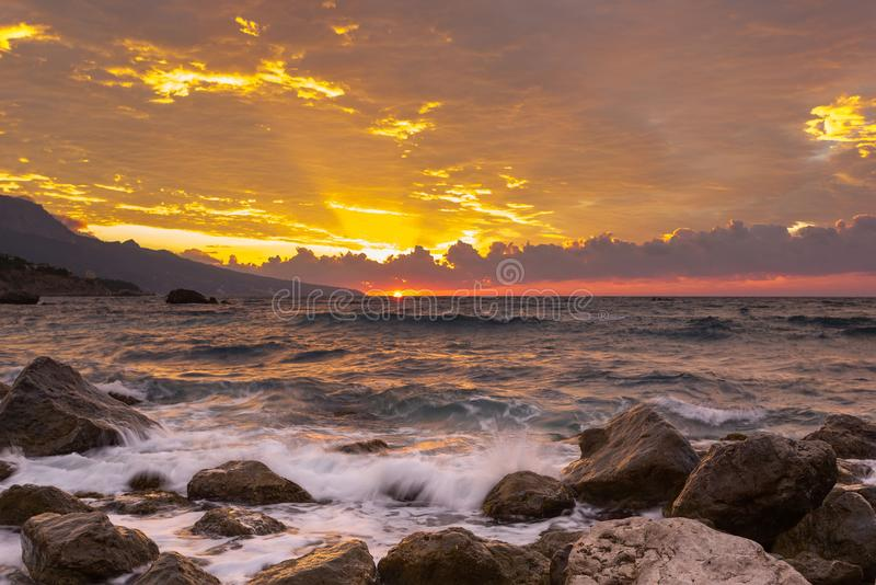 Beautiful landscape with sunrise and big stones, Black Sea, the Crimea. Beautiful landscape with sunrise and big stones, the Black Sea, the Crimea stock image