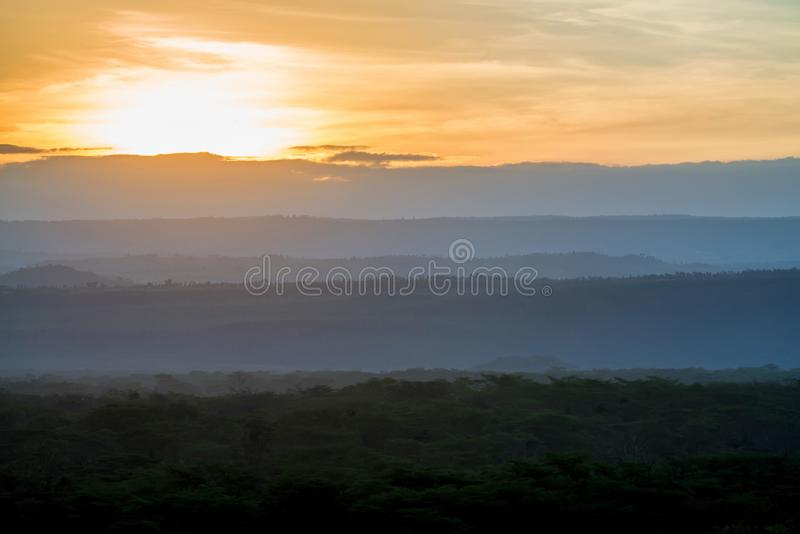 Beautiful landscape of sunrise or sunset in African savannah stock photography