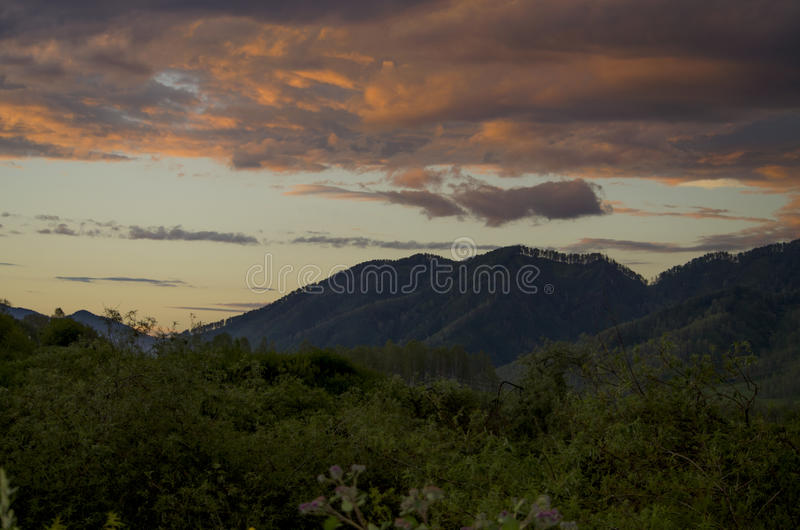 Beautiful landscape a sunset in mountains royalty free stock photo