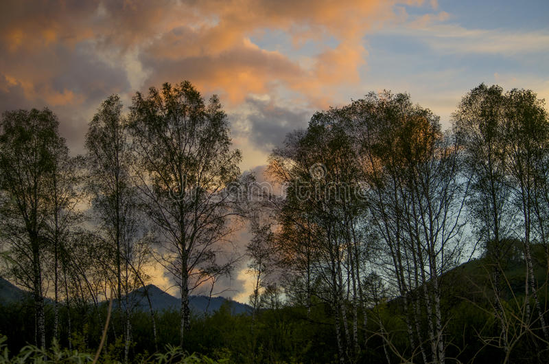 Beautiful landscape a sunset in mountains royalty free stock images