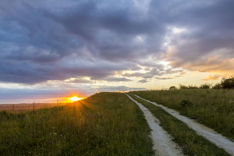 Beautiful landscape at sunset or sunrise, narrow ground road stretching through green grassy blooming meadow to distant horizon l royalty free stock image