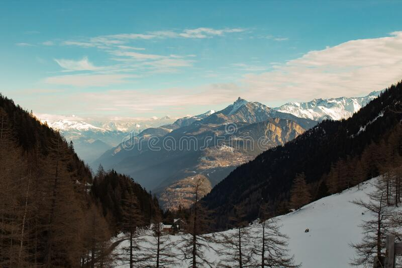 Landscape with the Swiss Alps stock photography