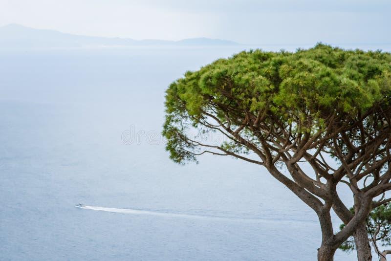 A beautiful Landscape to the Tyrrhenian Sea seen from the Garden of Villa Rufolo, historic center of Ravello, Amalfi Coast of Ital stock photos
