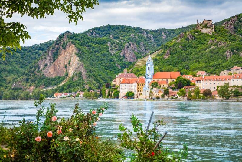 Town of Durnstein with Danube river, Wachau, Austria royalty free stock photos