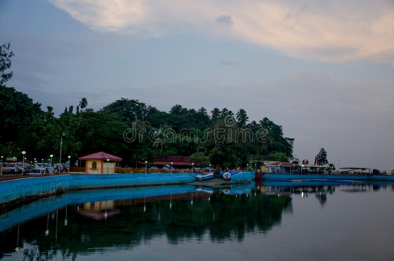 Beautiful landscape in the twilight of Andaman Sea Embankment to Port Blair India stock photography