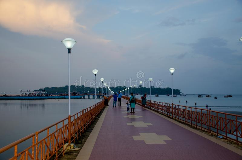 Beautiful landscape in the twilight of Andaman Sea Embankment to Port Blair India royalty free stock photo