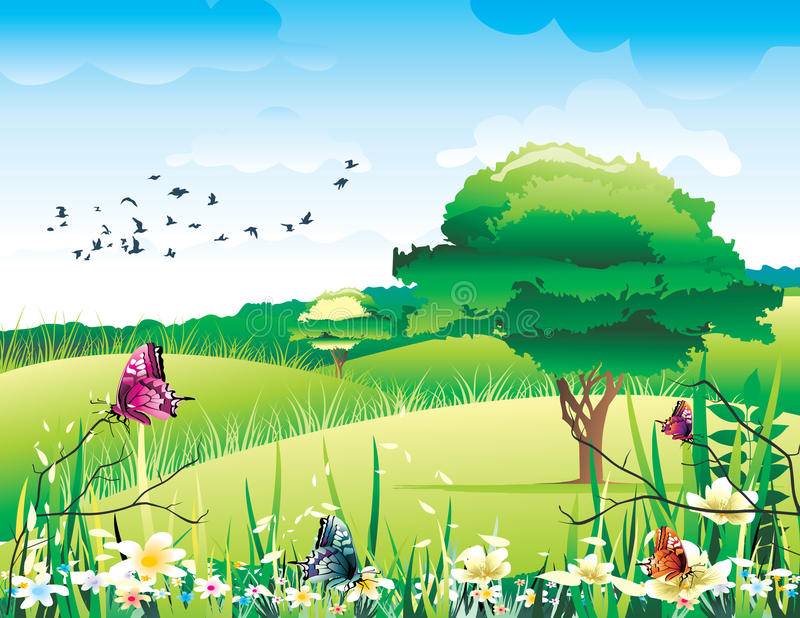 Download Beautiful landscape vector stock vector. Image of color - 14141523