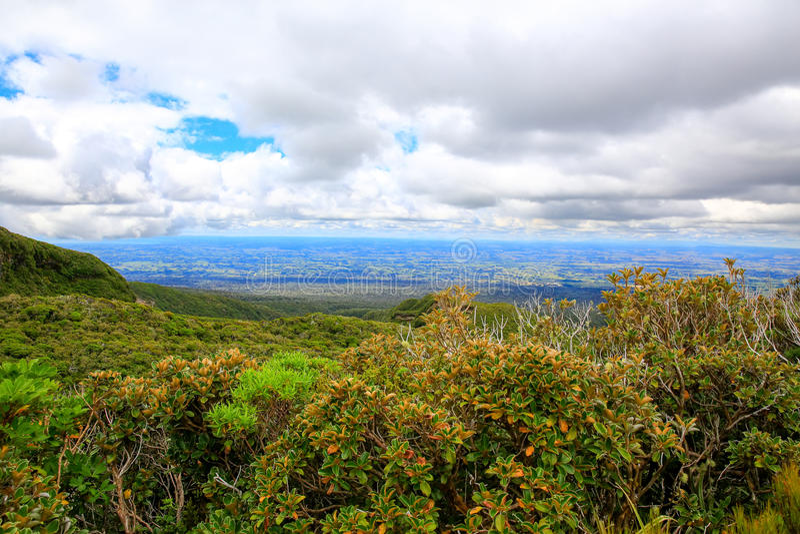 Beautiful landscape view with cloudy sky, Taranaki, New Zealand. Beautiful landscape view with cloudy sky, Stratford, Egmont National Park, Taranaki, New Zealand stock photo