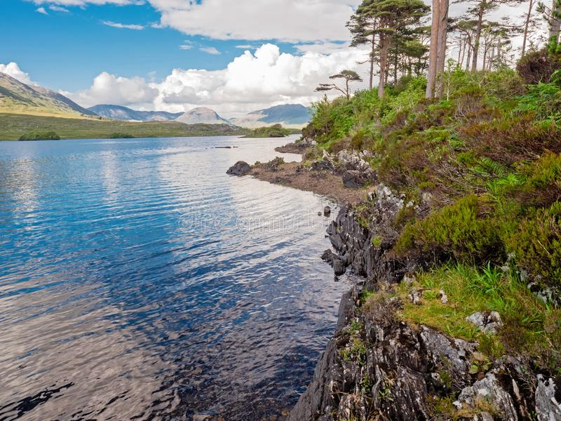 Beautiful landscape view in Connemara National park, Ireland, Pine island, Blue cloudy sky royalty free stock photos