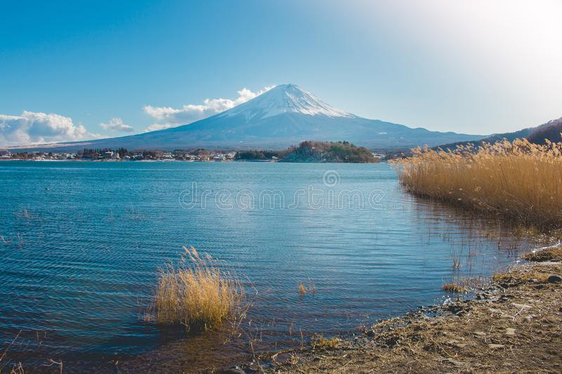 Beautiful landscape view of Fuji mountain or Mt.Fuji covered with white snow in winter seasonal at Kawaguchiko Lake. royalty free stock image