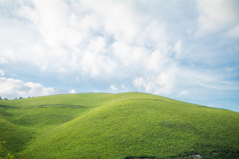 Beautiful landscape view of green grass with sky background. In Utsukushigahara park is one of the most important and popular natural place in Nagano Prefecture stock photo