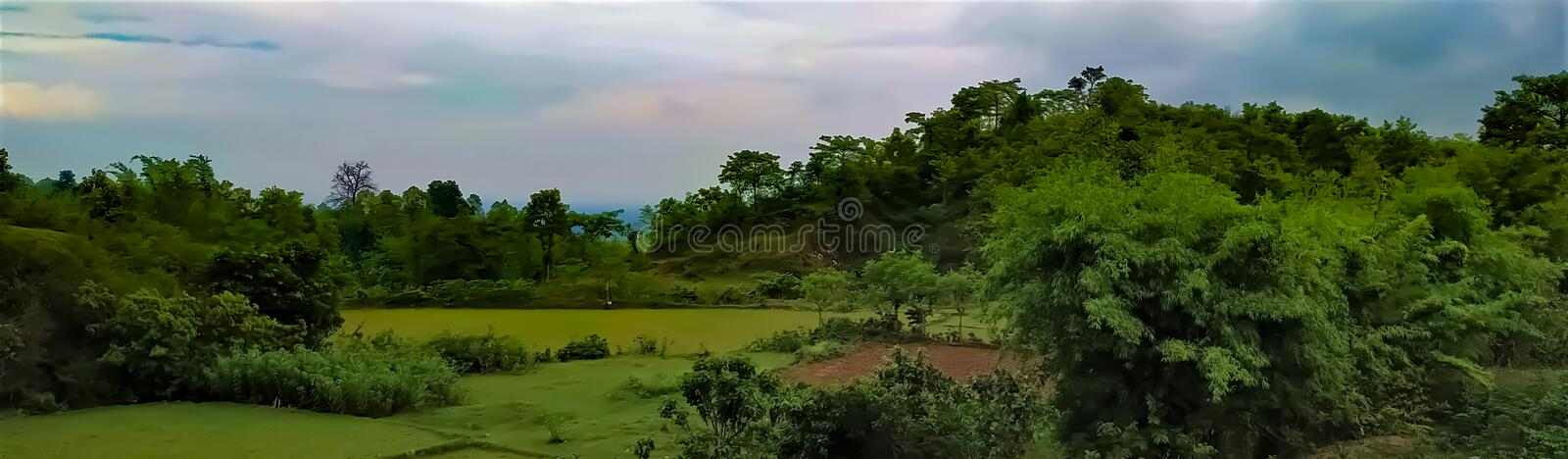 A beautiful landscape view of Indian rural area, skyline view with trees, fields and cloud. This is a picture of a beautiful landscape view of Indian rural area royalty free stock photos