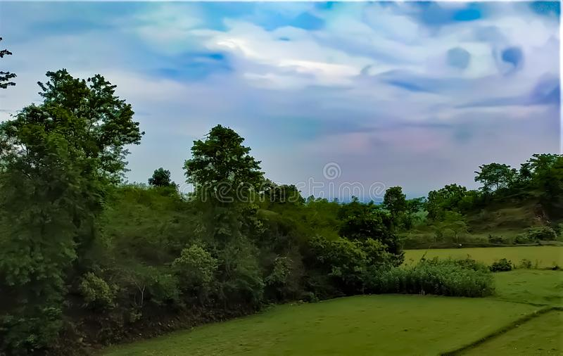 A beautiful landscape view of indian rural area, skyline view with trees, fields and cloud. This is a picture of a beautiful landscape view of Indian rural area royalty free stock photo