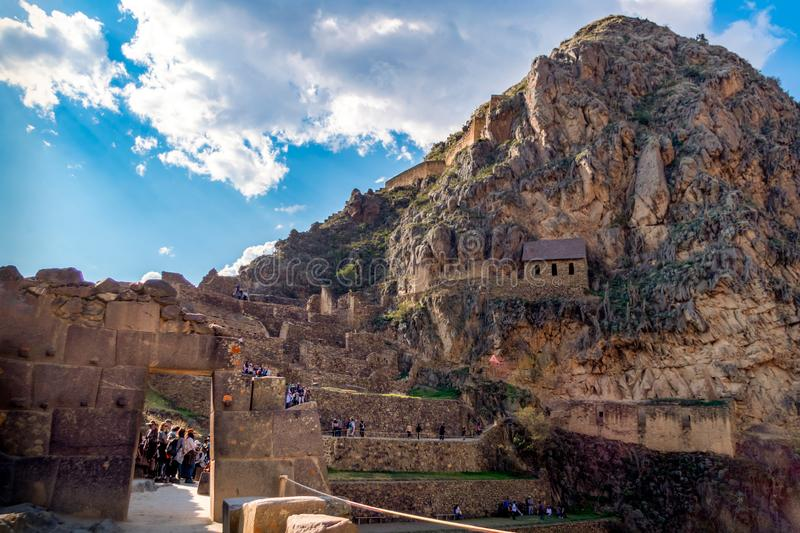 Beautiful landscape view from the inside of Ollantayambo fortress royalty free stock photography