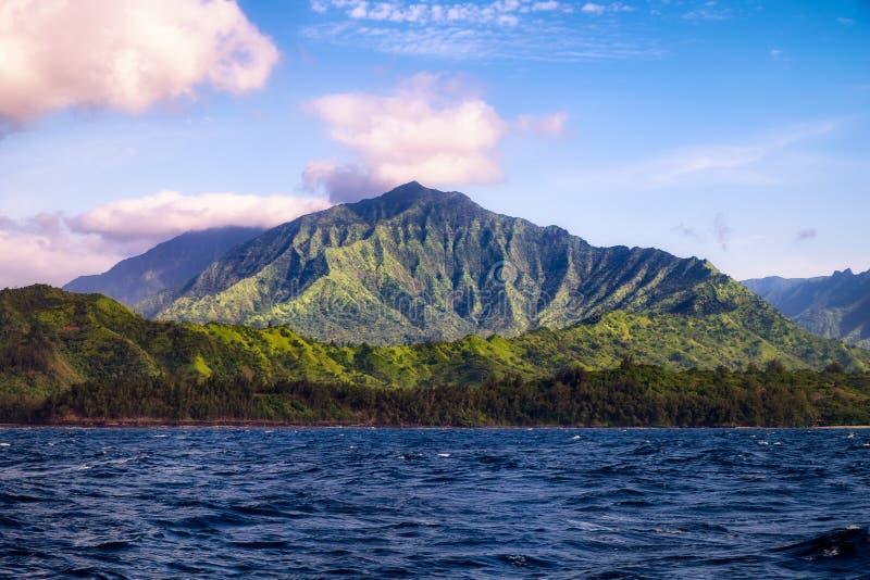 Beautiful landscape view of Na Pali coastline from the ocean, Kauai stock photography
