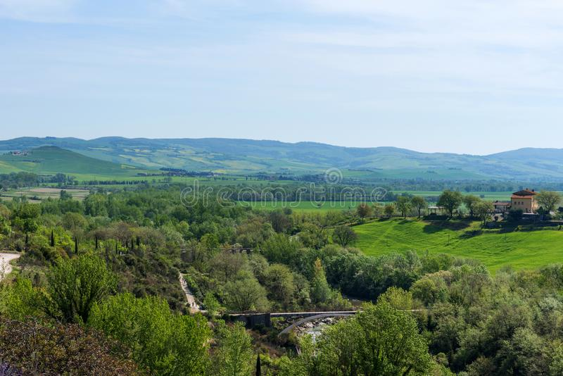 Beautiful landscape view near Bagno Vignoni in spring, Siena province, Tuscany, Italy stock photos