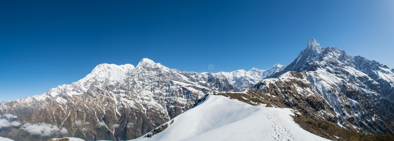 Beautiful landscape view panorama of Himalaya mountains covered with snow at Mardi Himal trekking area. In Nepal royalty free stock photography
