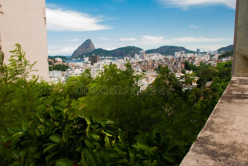 Beautiful landscape with a view of the sea and the Sugarloaf Mountain. Pao de Acucar. Rio de Janeiro, Brazil stock images