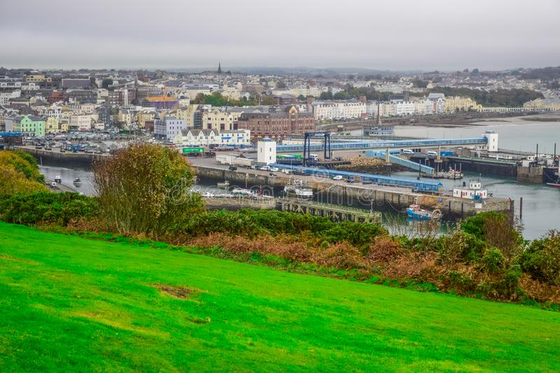 Beautiful landscape view of seaside town of Douglas in the Isle of Man. The capital and largest town of the Isle of Man royalty free stock images
